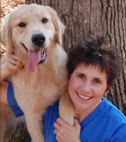 Nancy Johnson with Golden Retrievers, Gopher